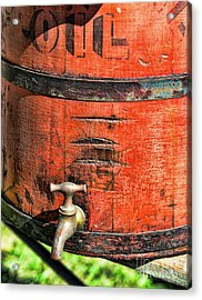 Weathered Red Oil Bucket Acrylic Print by Paul Ward