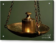 Weights On Scale Acrylic Print by Sami Sarkis