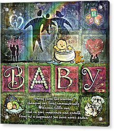 Welcome Baby Girl Acrylic Print by Evie Cook