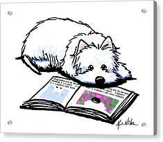 Wendell Loves Books Acrylic Print by Kim Niles