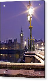 Westminster Snowfall Acrylic Print by Andrew Thomas