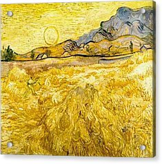Wheat Field With Reaper And Sun Acrylic Print by Vincent Van Gogh