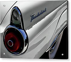 White 1955 T-bird Acrylic Print by Douglas Pittman