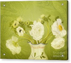 White Anemonies And Ranunculus On Green Acrylic Print by Susan Gary