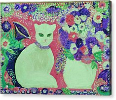 White Cat With Flowers All Around Acrylic Print by Anne-Elizabeth Whiteway