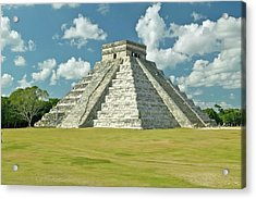 White Puffy Clouds Over The Mayan Pyramid Of Kukulkan (also Known As El Castillo) And Ruins At Chichen Itza, Yucatan Peninsula, Mexico Acrylic Print by VisionsofAmerica/Joe Sohm