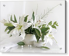 Whites Lilies Acrylic Print by Matild Balogh