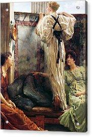 Who Is It Acrylic Print by Sir Lawrence Alma-Tadema