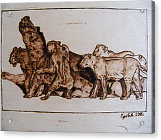 Wildlife Africa-the Original Wood Pyrography Acrylic Print by Egri George-Christian