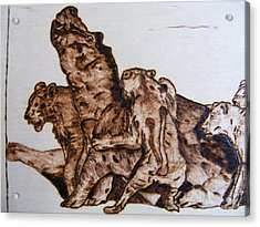 wildlife Africa-wood carving pyrography Acrylic Print by Egri George-Christian