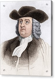 William Penn, English Coloniser Acrylic Print by Sheila Terry