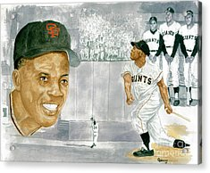 Willie Mays - The Greatest Acrylic Print by George  Brooks