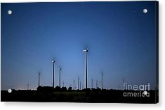 Wind Farm At Night Acrylic Print by Keith Kapple