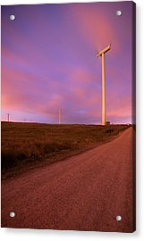 Wind Turbines At Night Acrylic Print by photography by Spencer Bowman