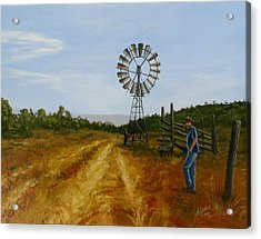 Windmill At Mandagery Acrylic Print by Anne Gardner