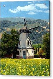 Windmill At Mission Meadows Solvang Acrylic Print by Kurt Van Wagner