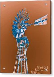 Windmill Blue Acrylic Print by Rebecca Margraf