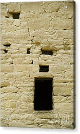 Window Opening In Old Brick Adobe Wall Acrylic Print by Ned Frisk
