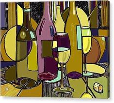 Wine Bottle Deco Acrylic Print by Peggy Wilson