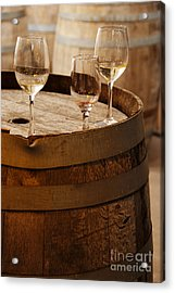 Wine Glasses On An Old Wine Barrel  Acrylic Print by Michael Gray