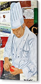 Wine Label Chef Acrylic Print by Michael Lee