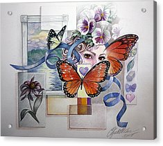 Wings With Hearts Acrylic Print by Elizabeth Shafer