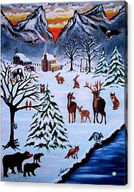 Winter Gathering Acrylic Print by Adele Moscaritolo