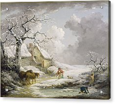 Winter Landscape With Men Snowballing An Old Woman Acrylic Print by George Morland