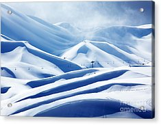 Winter Mountain Ski Resort Acrylic Print by Anna Omelchenko