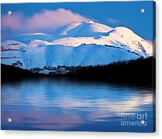 Winter Mountains And Lake Snowy Landscape Acrylic Print by Anna Omelchenko