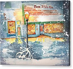 Snow Scenes In Watercolors Acrylic Print featuring the painting Winter On Whiskey Row Prescott Arizona by Sharon Mick