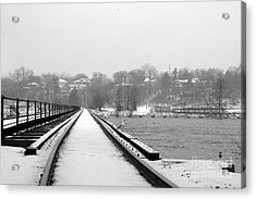 Acrylic Print featuring the photograph Winter Rails by Joel Witmeyer