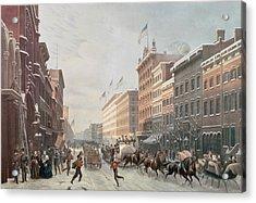 Winter Scene On Broadway Acrylic Print by American School