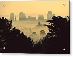 Winter Smog Over The City Acrylic Print by Colin Monteath