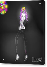 Woman 12 - Clubbin Acrylic Print by Cheryl Young