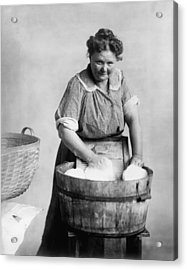 Woman Doing Laundry In Wooden Tub Acrylic Print by Everett