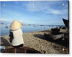Woman In Conical Hat Sitting On Boat On Acrylic Print by Axiom Photographic
