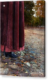 Woman In Vintage Clothing On Cobbled Street Acrylic Print by Jill Battaglia