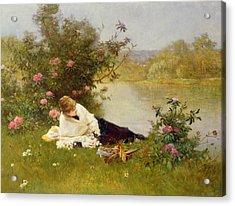 Woman On A River Bank Acrylic Print by Ferdinand Heilbuth