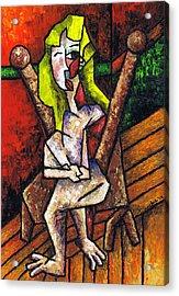 Woman On Wooden Chair Acrylic Print by Kamil Swiatek