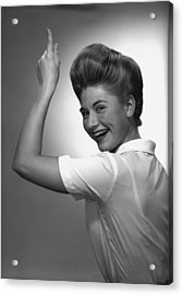 Woman Pointing Up In Studio, (b&w), Portrait Acrylic Print by George Marks