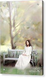 Woman Sitting On Park Bench Acrylic Print by Stephanie Frey