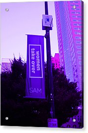 Woman Take Over In Purple Acrylic Print by Kym Backland