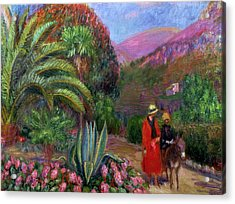 Woman With Child On A Donkey Acrylic Print by William James Glackens