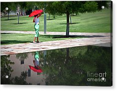 Woman With The Red Umbrella Acrylic Print by Tamyra Ayles