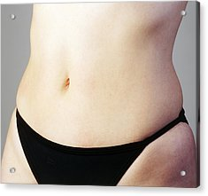 Woman's Naked Abdomen Acrylic Print by Carlos Dominguez