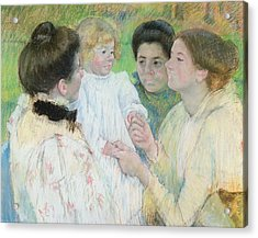 Women Admiring A Child Acrylic Print by Mary Stevenson Cassatt