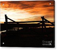 Wood Fence Sunrise Acrylic Print by Sara  Mayer