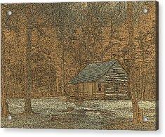 Woodcut Cabin Acrylic Print by Jim Finch