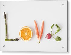 Word 'love' Made Out Of Fruits And Vegetables, Studio Shot Acrylic Print by Jessica Peterson